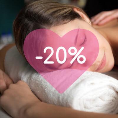 Le 20 mars, c'est -20% sur les soins massages