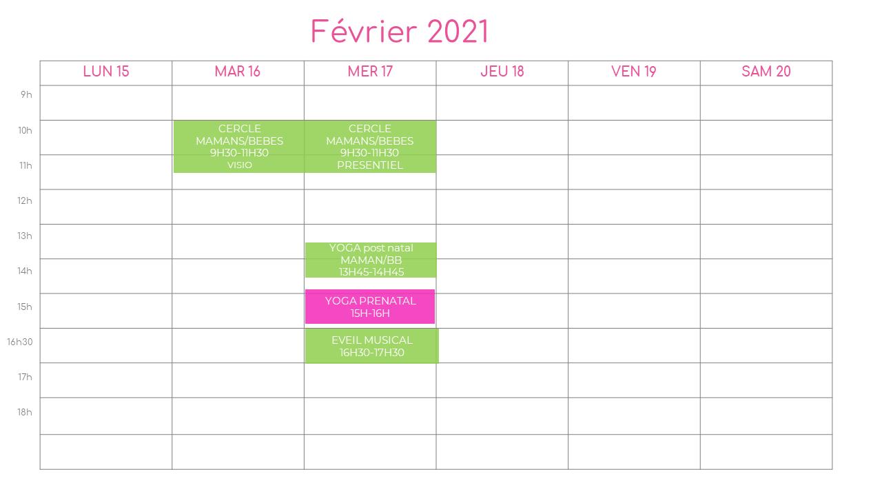 planning de la semaine du 15 fevrier 2021 a l association l o cocoon concept pres de montpellier