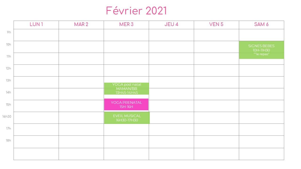 planning de la semaine du 1 fevrier 2021 a l association l o cocoon concept pres de montpellier