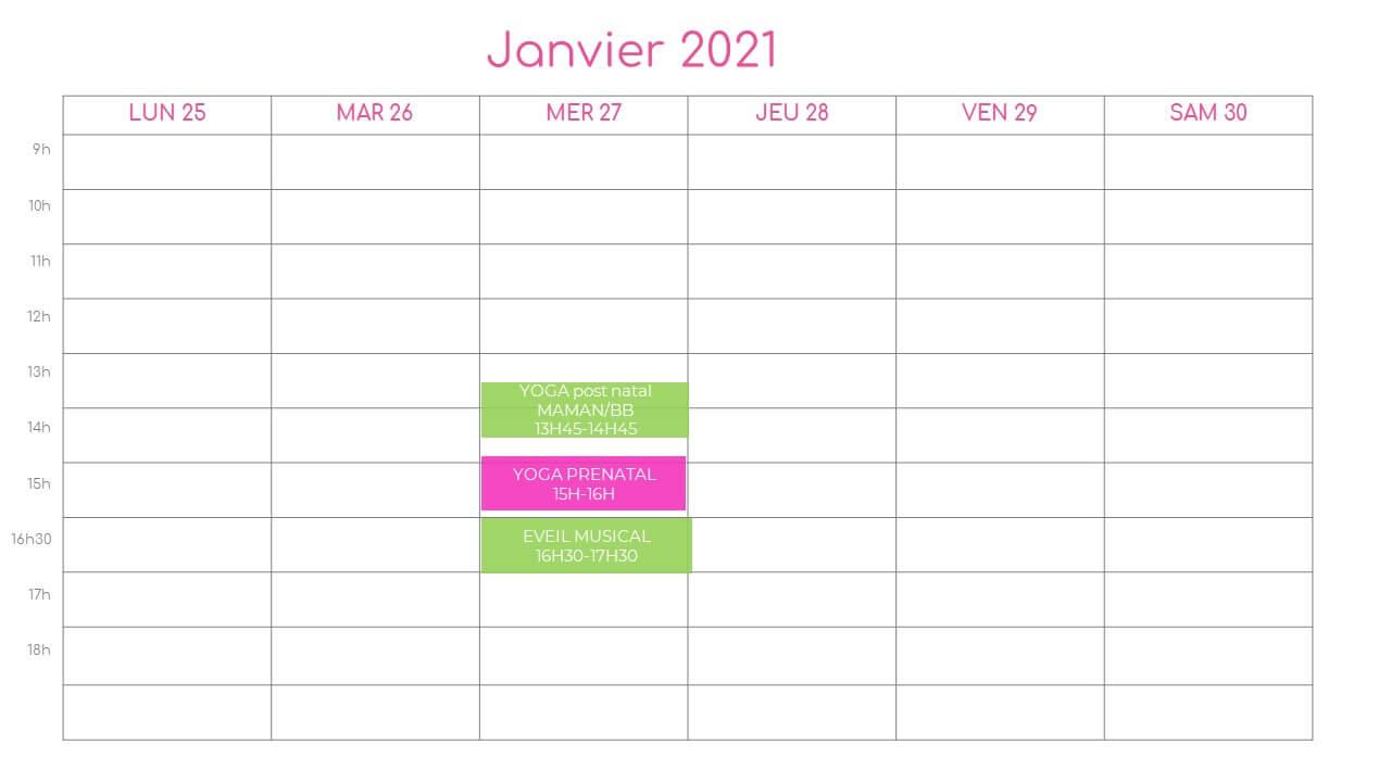 planning de la semaine du 25 janvier 2021 a l association l o cocoon concept pres de montpellier